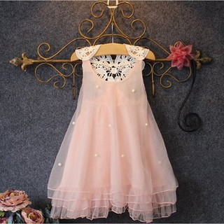 TR❤Đầm công chúa mùa hè vải tuyn đính hoa cho bé gái