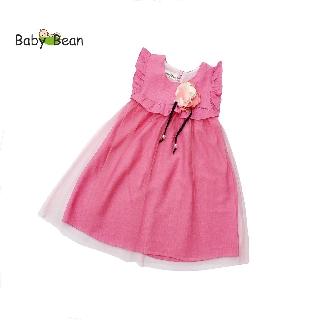 Đầm Đũi Phối Cotton Phủ Lưới Đính Hoa bé gái BabyBean