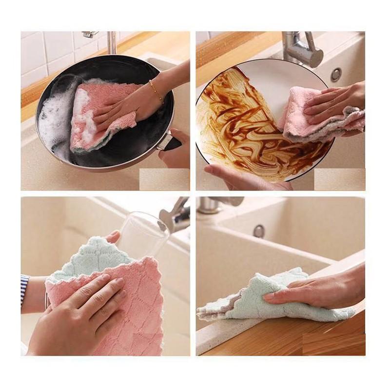 Bán Sỉ 10 Khăn Lau Nhà Bếp Đa Năng 2 Màu Siêu Thấm Nước