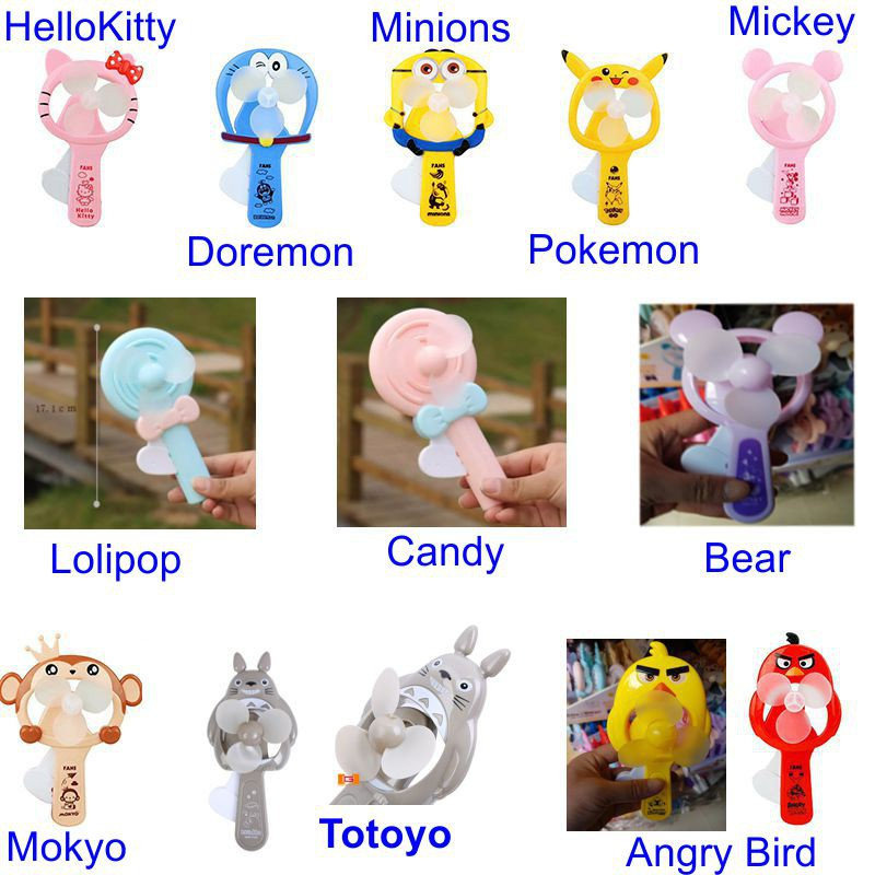 Quạt MINI cầm bóp tay dáng các nhân vật hoạt hình nổi tiếng
