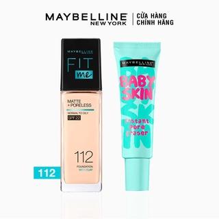 [Bộ trang điểm] Kem nền kiềm dầu chống nắng Fit Me + Kem lót mịn da Baby Skin Maybelline New York thumbnail
