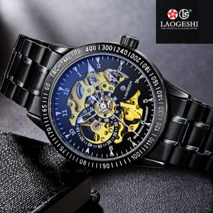 Đồng hồ nam cơ Automatic LAOGESHI lộ máy, mặt kính ánh xanh sang trọng BH 12 tháng - LAOI1