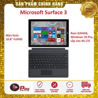 Máy tính bảng Microsoft Surface 3   Bộ nhớ Ram 4/64GB SSD, Chạy Windows 10 Pro   Sử dụng liên tục 10 tiếng