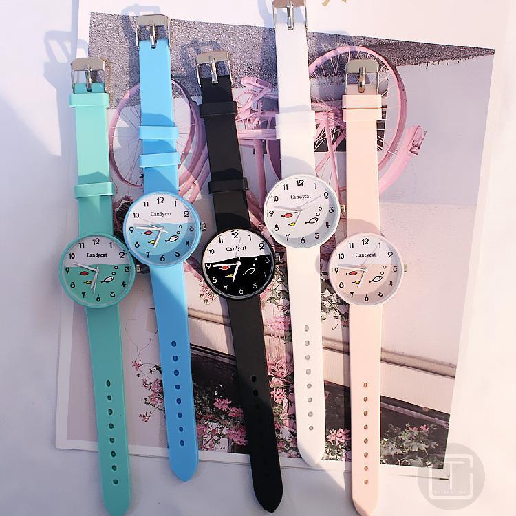 นาฬิกาผู้ชายและผู้หญิงเกาหลีลูกอมเยลลี่สีที่เรียบง่ายและน่ารักนาฬิกา 291