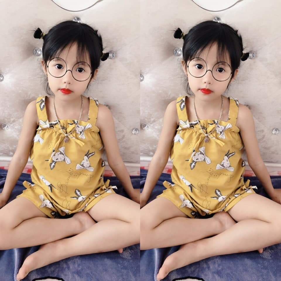 Bộ quần áo bé gái kate lụa kiểu 2 dây nhún bèo cho bé từ 6kg đến 15kg [ Chuột Lắc Shop]