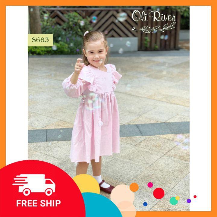 Đầm cho bé ⚡𝗙𝗥𝗘𝗘 𝗦𝗛𝗜𝗣⚡ Váy thu đông cho bé , dáng cánh tiên hồng, chất liệu thô thấm mồ hôi chất lượng cao