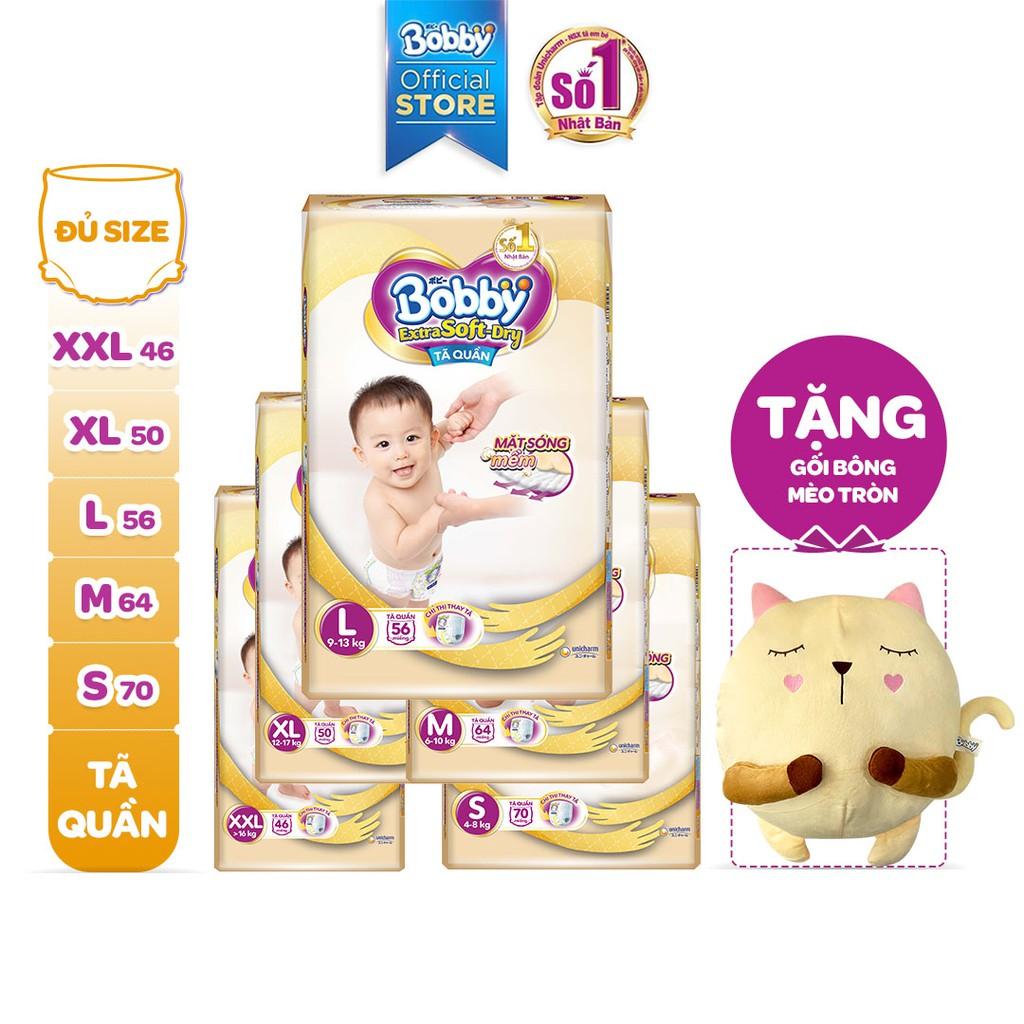 Tã Quần Bobby Extra Soft-Dry S70/M64/L56/XL50/XXL46