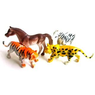 4pcs Plastic Zoo Animal Figure Tiger Leopard Horse Zebra Kids Animal Gift Toys