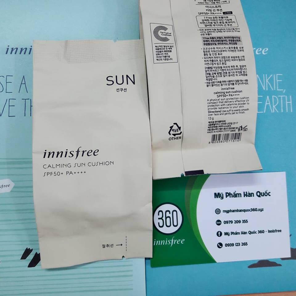 Lõi Chống Nắng Dạng Cushion Innisfree Calming Sun Cushion (R SPF50+ PA++++