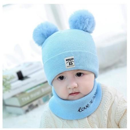 ❤️ Mũ len đẹp ❤️ Nón mũ len 2 quả bông kèm khăn chất mềm mại ấm áp cho bé trai bé gái