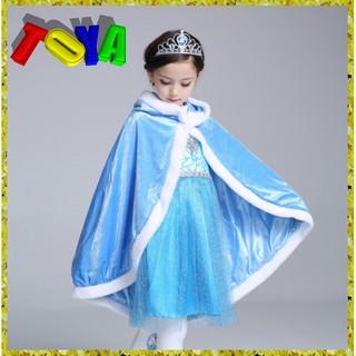Áo choàng giữ ấm có mũ trùm đầu phong cách công chúa Elsa cho bé gái