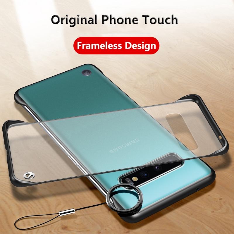 Ốp điện thoại nhám không viền có nhẫn đỡ bảo vệ cho Samsung Galaxy S20 FE Ultra 10 Plus 8 9 S8 S9 S10 Lite