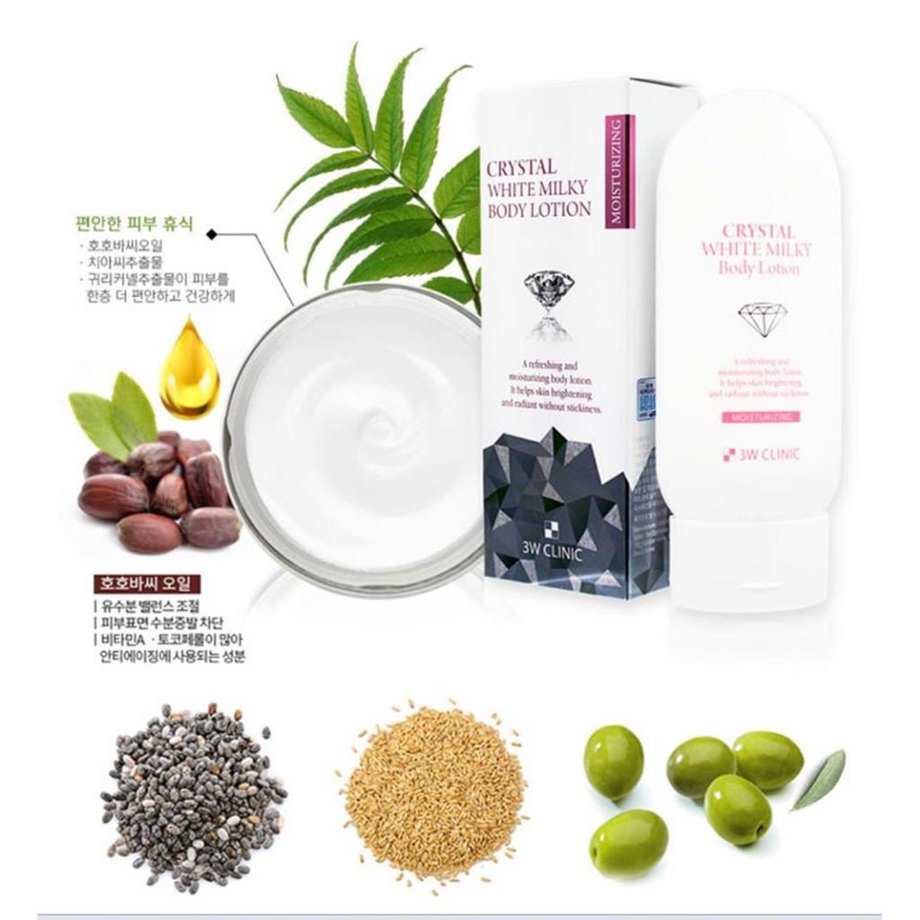 [Chính Hãng Hàn Quốc] Kem dưỡng trắng da - Kem dưỡng da Body Crystal White Milk 3W Clinic Hàn Quốc 200ml