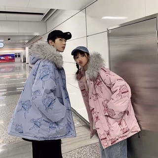 [COUPLE-ORDER] Áo khoác phao đôi couple oversize form rộng mũ lông Ulzzang unisex hoạ tiết siêu cute ❤️