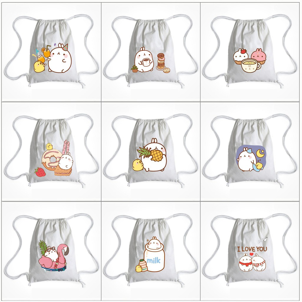 Balo Dây Rút molang BLRI7 Túi Rút hoạt hình thời trang cute dễ thương idol