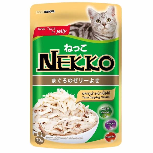 Pate thạch cho mèo Nekko vị cá ngừ và ức gà (70g)