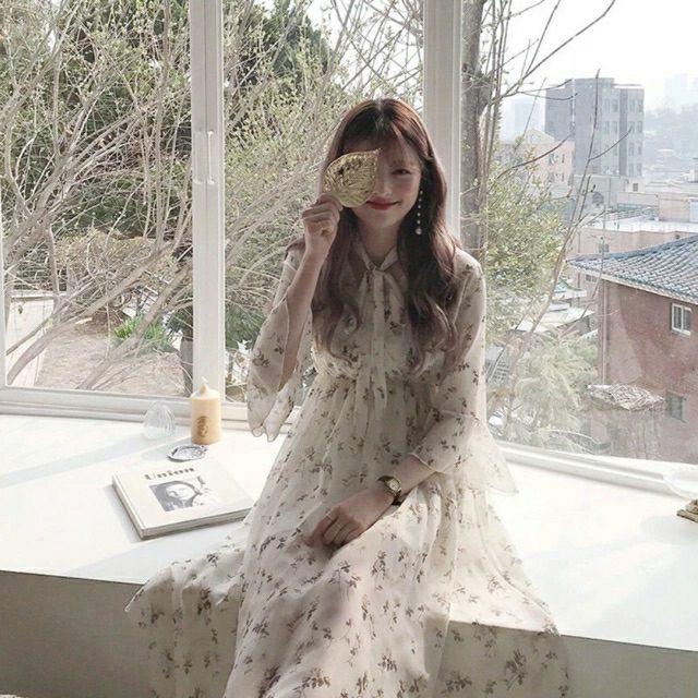 [Hàng order] Váy hoa nhí dáng dài