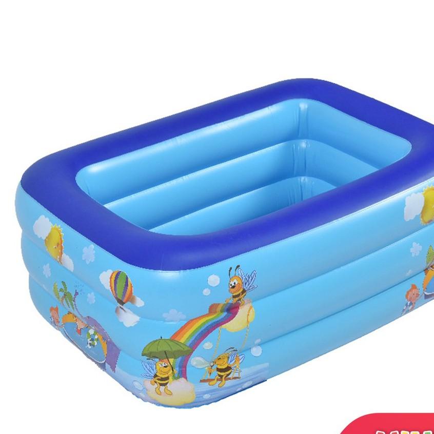 Hồ bơi phao, bể bơi phao cho bé 3 tầng hình chữ nhật đủ tất cả kích cỡ có đế chống trượt
