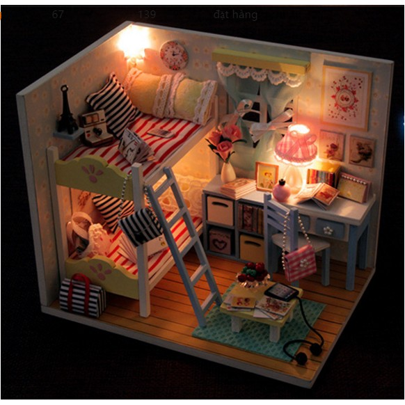 Mô hình nhà búp bê phòng ngủ bạn gái yêu Paris - Youth Ever