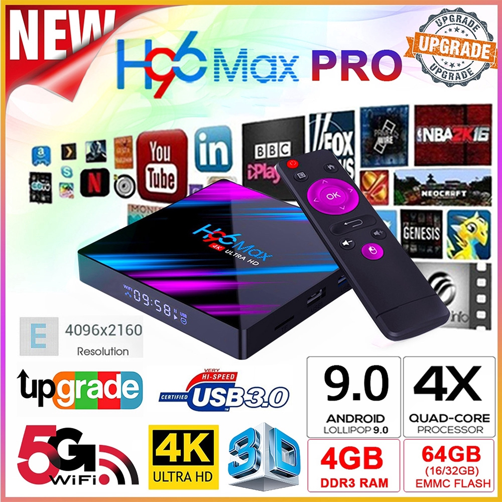 Tv Box Android 9.0 Os H96 Max Quad-Core 4 / 64gb Kết Nối Wifi / Bluooth 4k 1080p Dlna