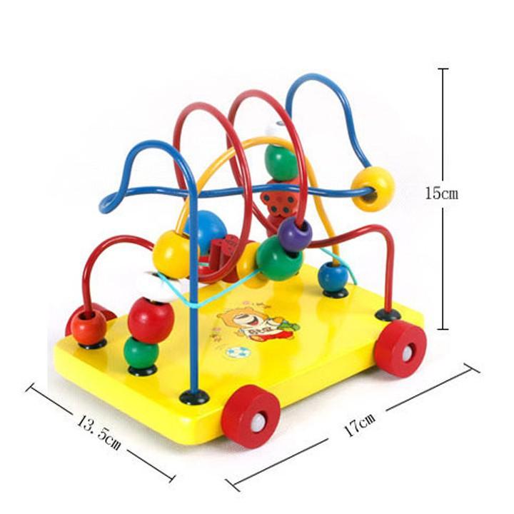 [Freeship] Đồ chơi gỗ luồn hạt - Xe kéo luồn hạt giúp bé phát triển tư duy