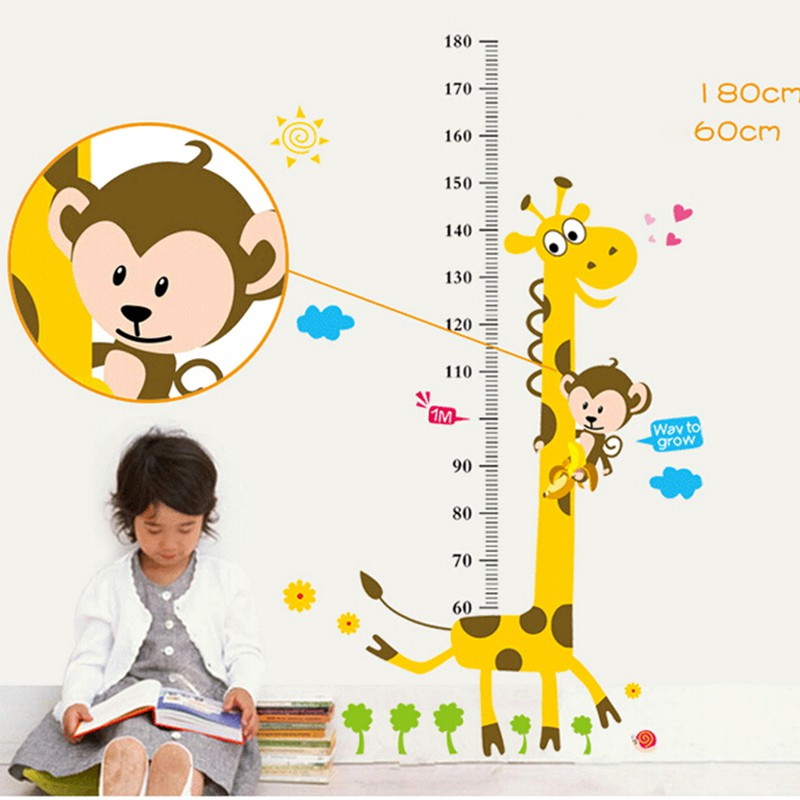 adore 1 X Kids Height Chart Measure Giraffe Monkey PVC Wall Decal Stickers craving