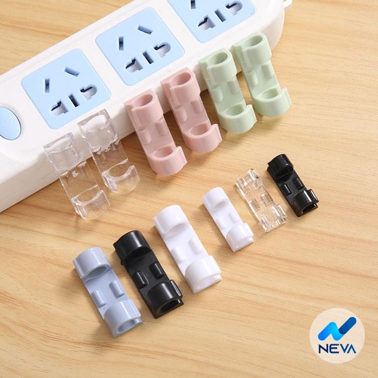 Bộ 20 kẹp nhựa cố định dây cáp điện dán tường dán bàn KDC20