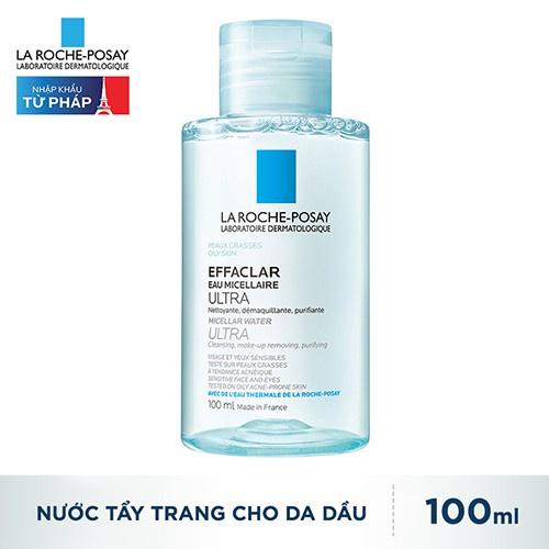 Nước làm sạch sâu tẩy trang cho da dầu nhạy cảm La Roche-Posay Effaclar Micellar Water Ultra 100ml