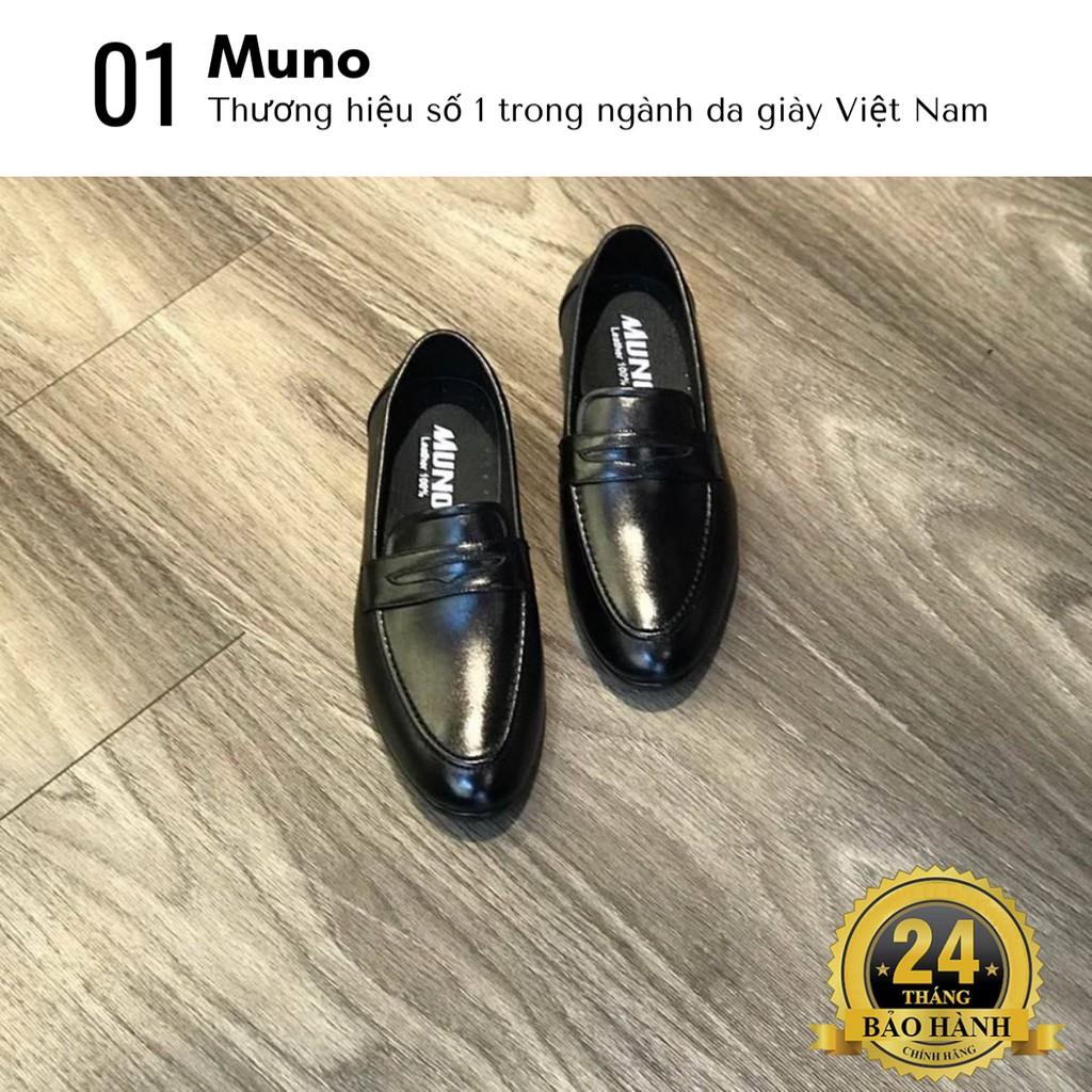 Giày lười nam Loafer Muno (09) da bò thật cao cấp cổ thấp bóng không dây thời trang giá rẻ màu đen nhiều size