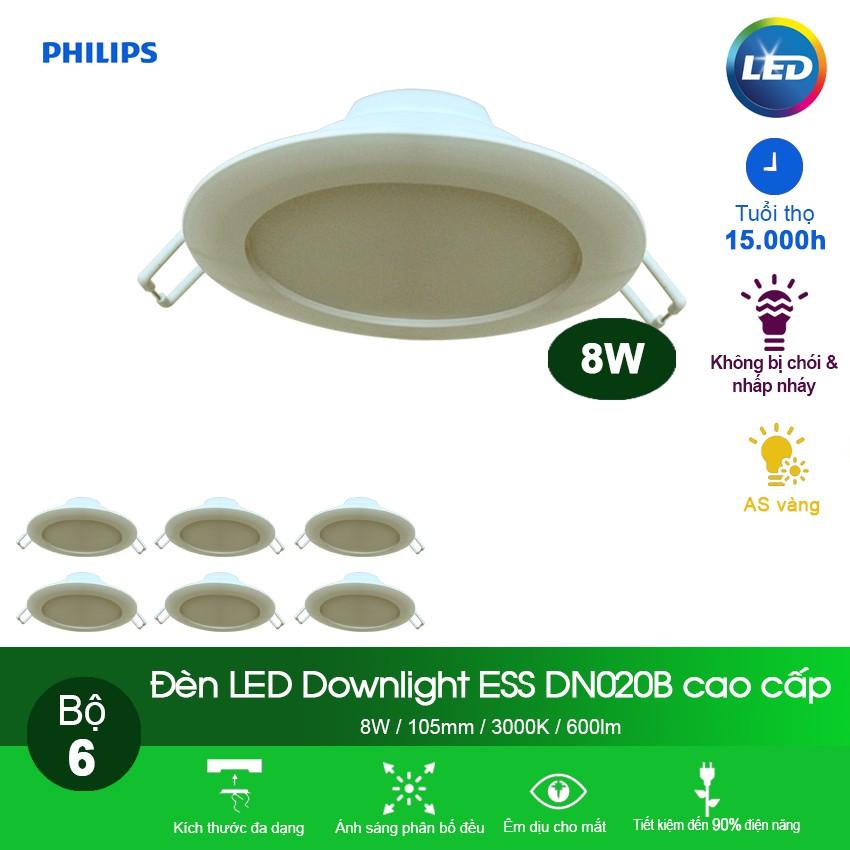 Bộ 6 bóng Đèn Philips LED Downlight âm trần DN020B 8W 3000K - Ánh sáng vàng
