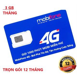 Sim 4G Mobifone trọn gói 1 năm không nạp tiền – Mỗi tháng 3Gb – Đăng ký nghe gọi miễn phí 2 số Mobifone!