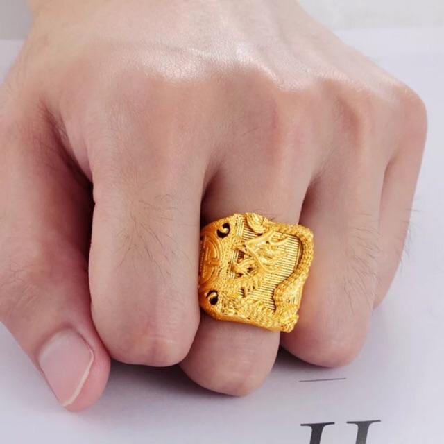 Nhẫn Nam Rồng Mạ Vàng 24K - Nhẫn nam cao cấp Nhẫn Kim Loại/Nhẫn Đá