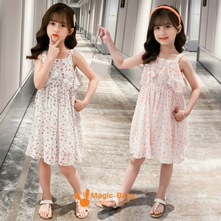 New girls' small dresses, boutique Korean children's clothing, big boys and girls, color dot chiffon dresses, lovely temperament, comfortable, cool and breathable