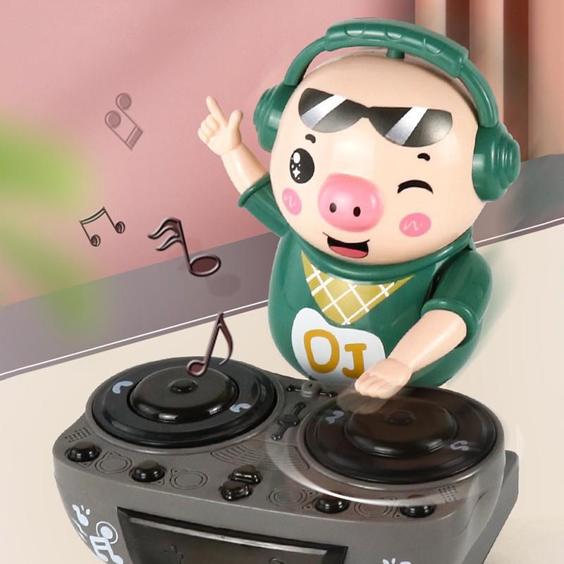 Chú heo chơi DJ năng động siêu dễ thương nhảy theo nhạc và đèn cho bé
