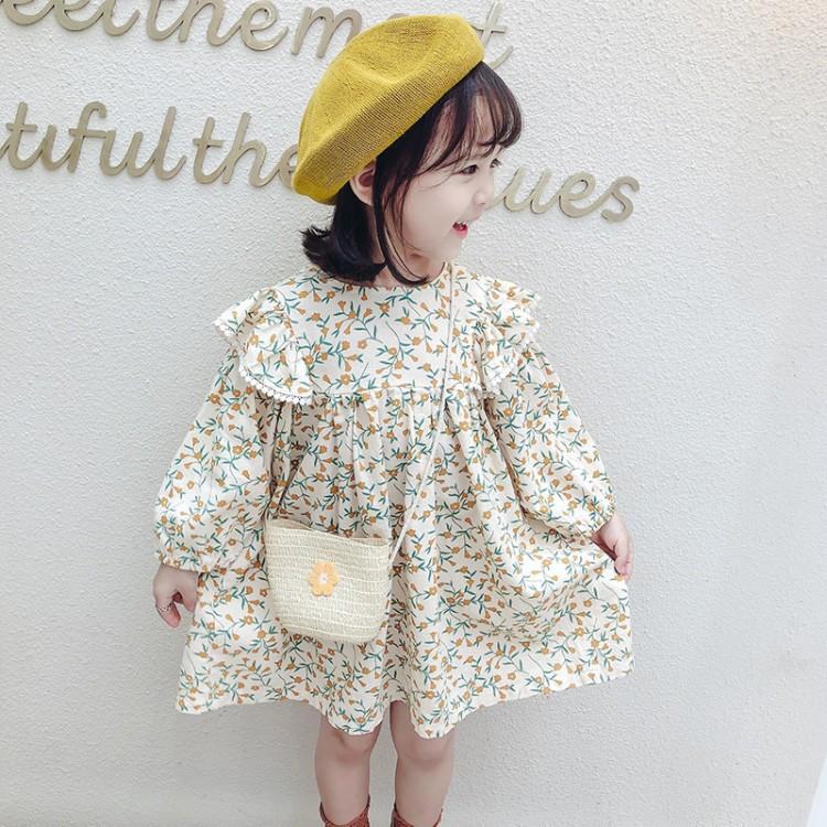 Váy hoa mùa xuân và mùa thu 2020 cho bé phong cách nước ngoài  dài tay Hàn Quốc công chúa ngọt ngào