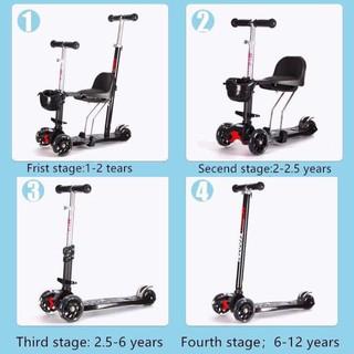 ( Hỗ trợ phí ship ) Xe đẩy scooter cao cấp 4 in 1 hãng midou cho bé dùng từ 1 đến 12 tuổi