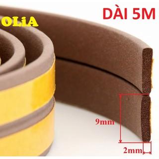 5 mét-Khe hở 9x2mm-Ron Dán Khe Hở Cửa Cách Âm Ngăn Bụi Muỗi-Nâu-Gioăng dán cửa OLIA