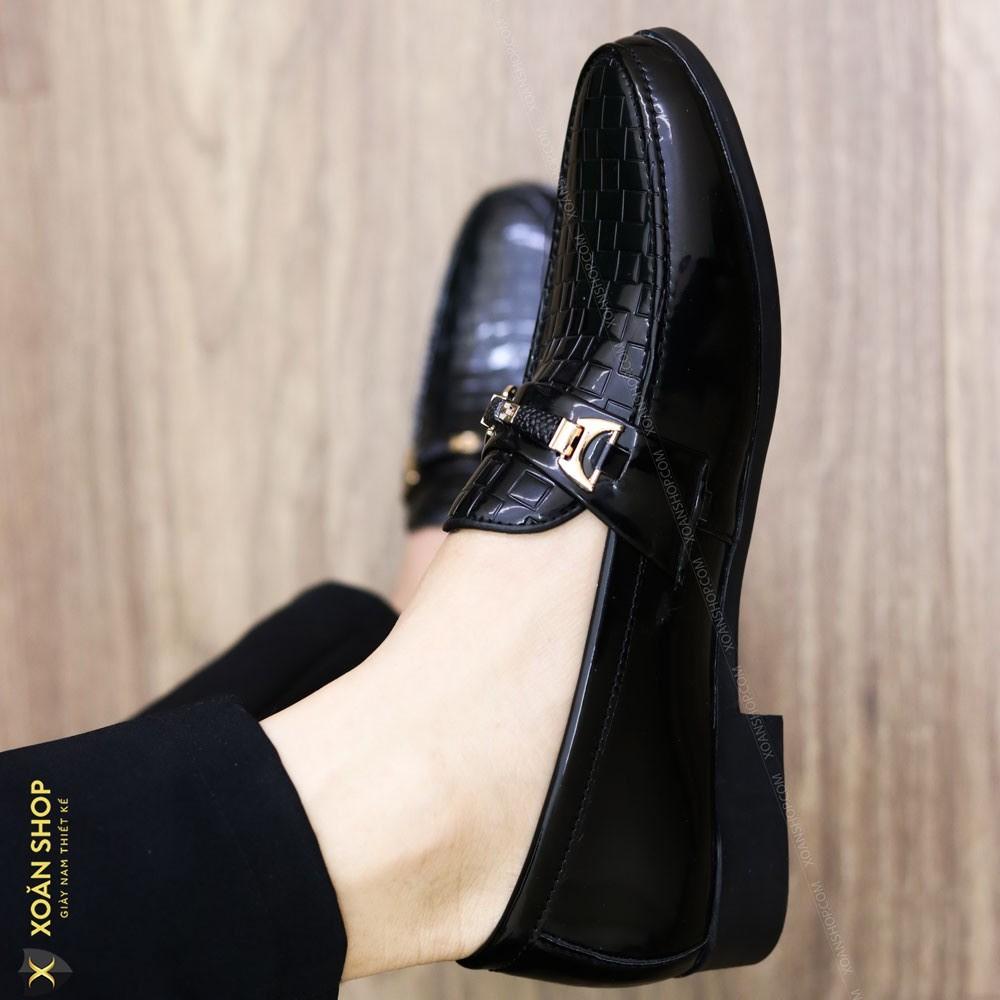 Giày Lười Da Bóng Nam Giá Rẻ -Tăng Chiều Cao 3cm - Mã L157 Màu Đen - Hàng VN