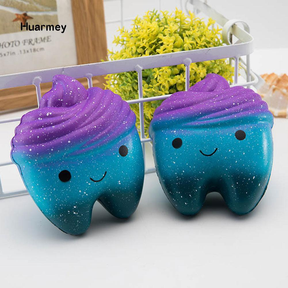 ★Hu Cute Colorful Tooth Squishy Slow Rising Squeeze Stress Reliever Toy Kid Gift shopgiarebatngo
