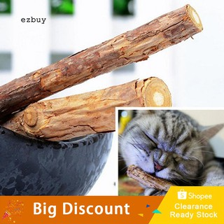 【Ready Stock】2Pcs Pet Cat Kitten Chew Stick Treat Toy Natural Wood Catnip Molar Chewing Tool