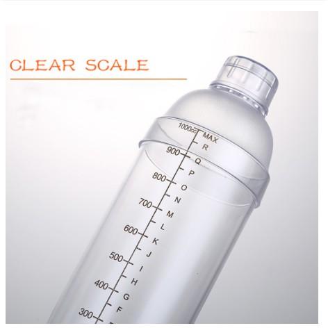 Bình lắc Shaker pha chế nhựa chia vạch đen 350ml- 500ml - 700ml - 1000ml - nắp bình lắc