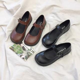 Giày Mary Janes khuy tròn ba màu (Hàng có sẵn)