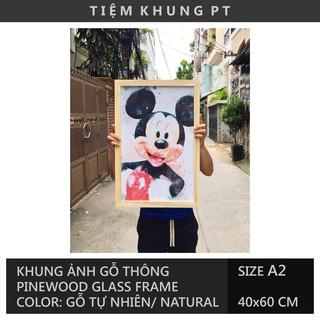 Khung ảnh A2 40x60 gỗ thông mặt kính treo tường - Picture Frames Tiệm Khung PT