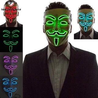 ☁ி☁ LED Luminous Flashing Face Mask Anonymous Halloween Cosplay Costume Masks Supplies