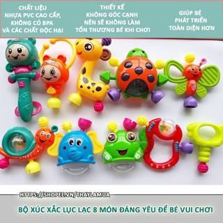 Bộ 8 món xúc xắc lục lạc vui nhộn nhiều màu sắc cho bé