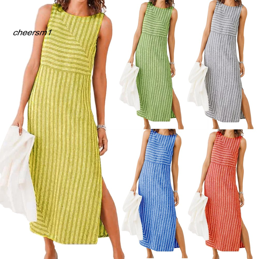 CHE♥Plus Size Summer Striped Split Loose Lady Sleeveless O-Neck Maxi Long Dress