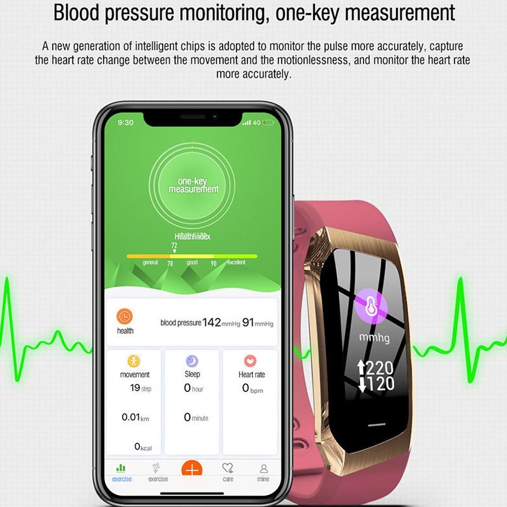 E18 0.96 Inch Alarm Remote Photography Sleep Monitoring Blood Pressure Colorful Screen IP68 Waterproof Smart Bracelet