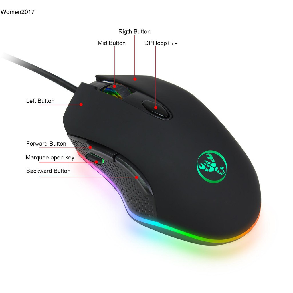 WMDS_USB Wired Ergonomic Backlit Mechanical Gaming Mouse E-sports mouse