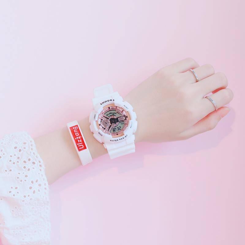 หลิน Xiaozhai นาฬิกาอิเล็กทรอนิกส์ผู้ชายและผู้หญิงที่เรียบง่ายและน่ารักสาวกีฬากันน้ำส่องสว่าง
