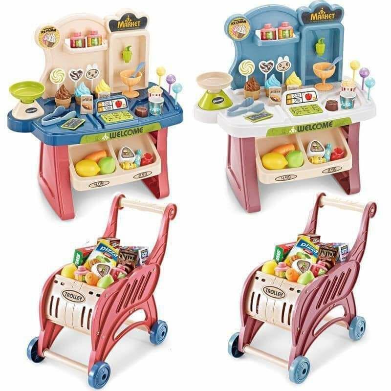 Bộ đồ chơi nấu ăn, máy tính tiền kèm xe đẩy đồ siêu thị